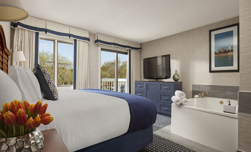 Hyannis Harbor Hotel One King Bed With Hot Tub and Balcony Deluxe Rooms